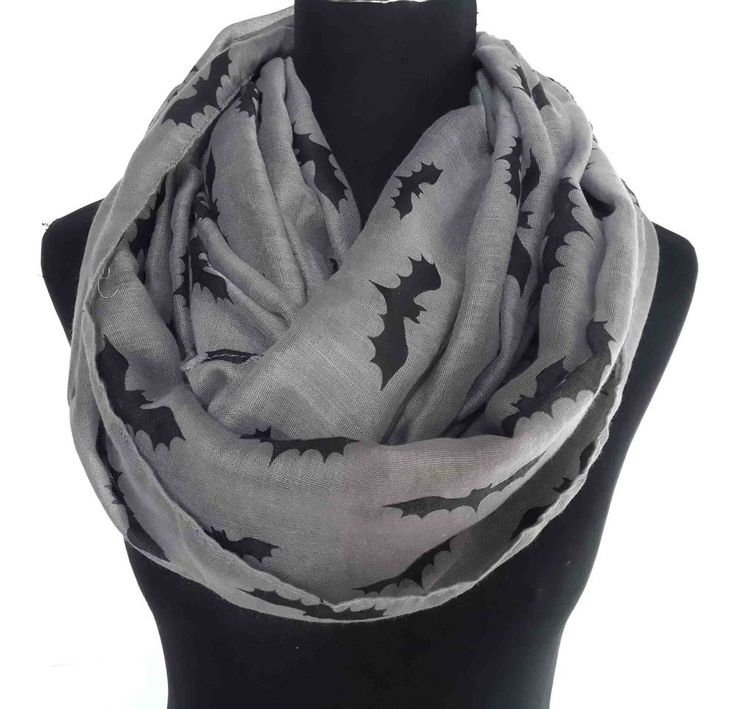 Bat Print Infinity Scarf Cowl Loop Women's Halloween Accessories Lightweight #Unbranded #CowlInfinity