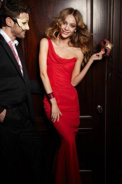 Style JH5225     Candy Apple A-line bridesmaid gown, one-shoulder neckline, drap…