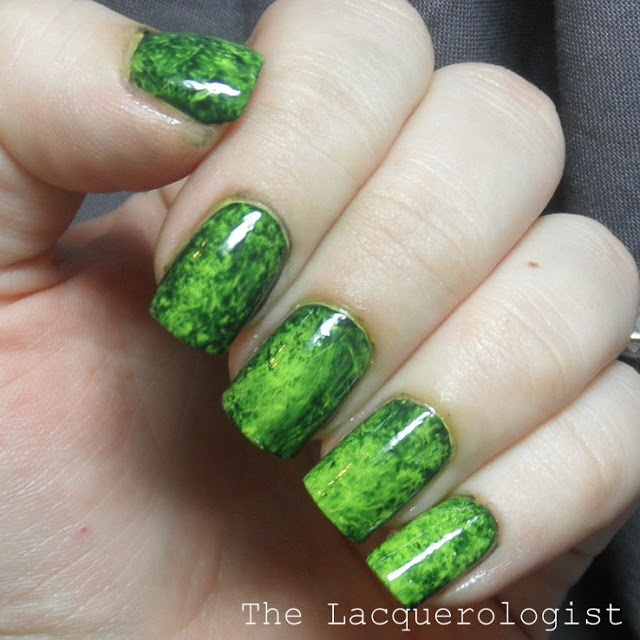 Loving this nail look... bright lime base coat then use scrumpled plastic wrap on the darker coat to create the effect.  The lacquerologist blog is well worth a look.