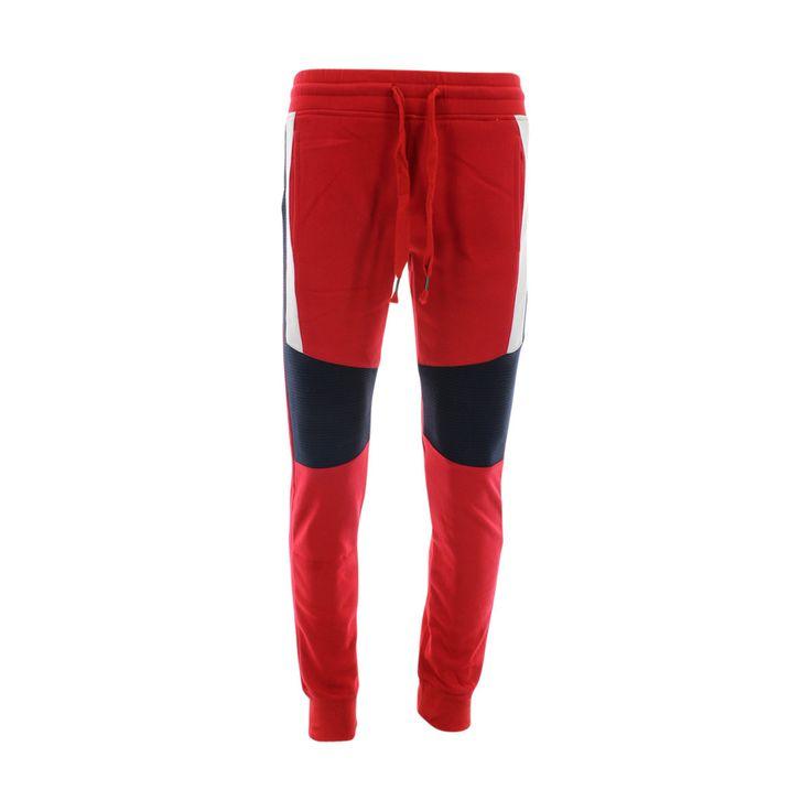Rebel Jeans - Men's Stripe Moto Joggers - Red/Navy/White