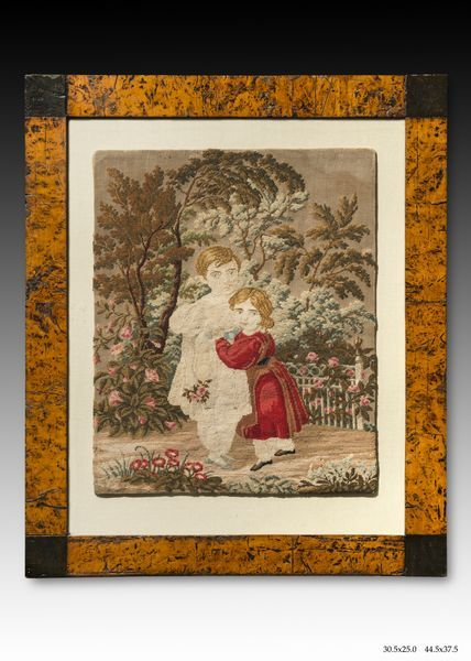 """""""Kids in the Garden"""" Russia. The second half of the XVIII century. Embroidery colorful thread in the fabric."""