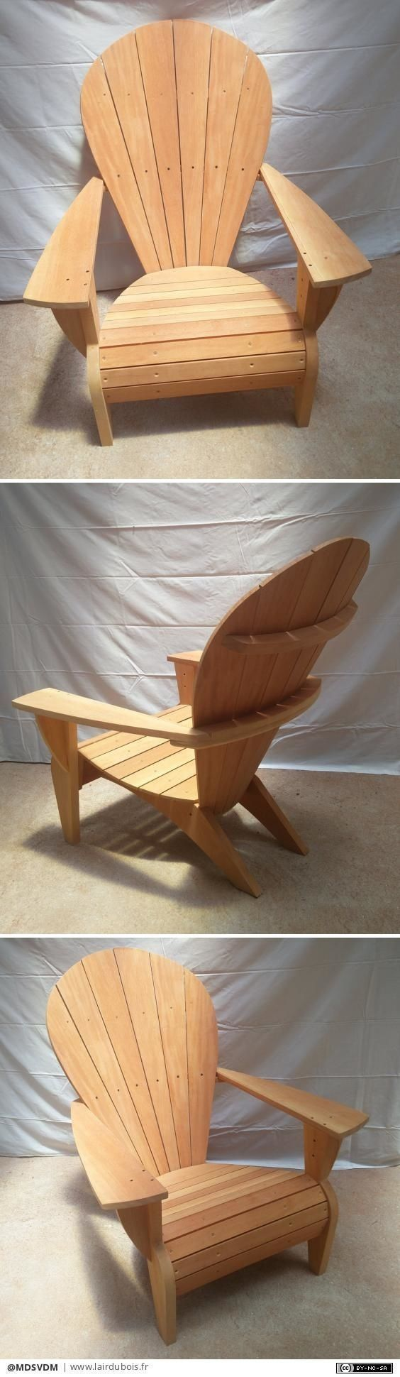 These free Adirondack chair plans will help you build a great looking chair in just a few hours. It will look great on your deck, porch, or yard #outdoorfurniture #ChairMadera