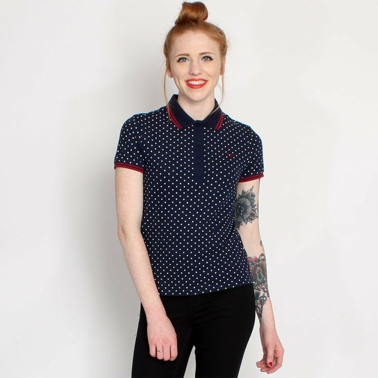 Fred Perry Womens Navy Spot Tipped Polo Shirt Fashion