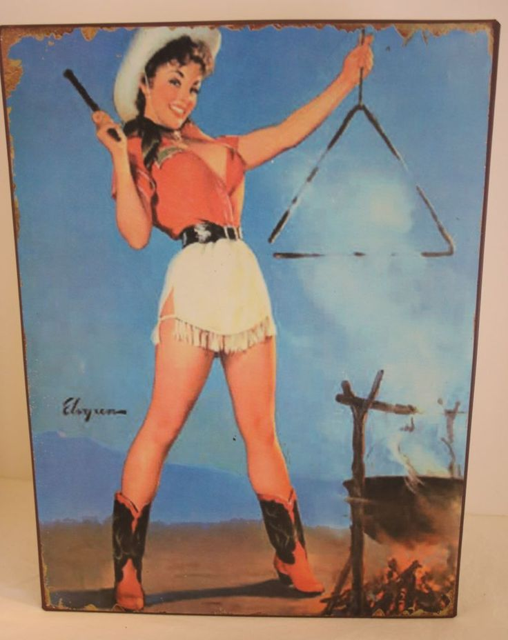 Vintage Cowgirl Western PinUp Girl Metal Sign Wall Decor Southwest Cow Girl Sign