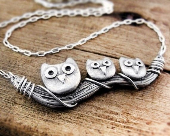 Owl family necklace in silver $94.00