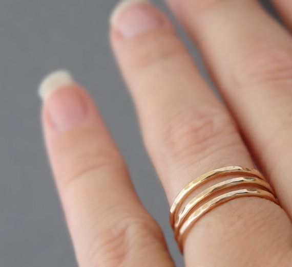 Rose Gold Rings stacking rings three 16 gauge ring by bluebirdss