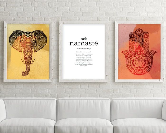 Set of 3 Prints, Art Print Set, Printable Art Set, Namaste, Hamsa, Elephant, Zen Art, Yoga Art, Downloadable Print, Printable, Boho Prints by UrbanEpiphanyPrints on Etsy