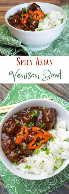 Spicy Asian Venison Bowl - venison meat coated with a spicy black bean sauce served with a bed of scallion flavored jasmine rice. complete dinner in a bowl!