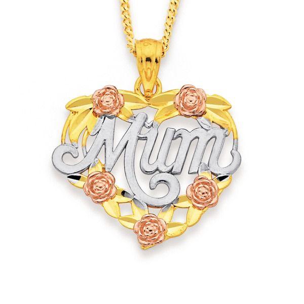 9ct Gold Tri Tone 'Mum' Heart Pendant