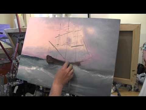 морской пейзаж с кораблем маслом на холсте, научиться рисовать маслом, Сахаров - YouTube