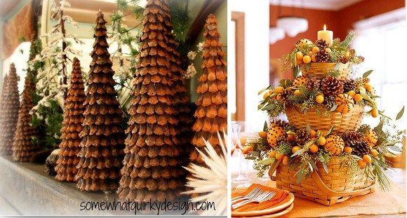 Decoraciones de navidad con piñas
