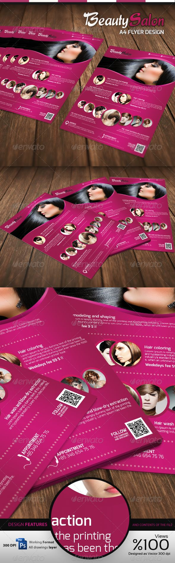 Beauty Salon - A4 Flyer. Customizable professional template for a flyer. #FlyerTemplate #flyer #party #GraphicTemplate #design #PrintDesign #A4Flyer #beauty #BeautySalon #BeautySalonA4Flyer #BeautySalonFlyer