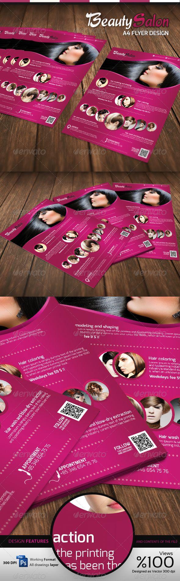 Beauty Salon - A4 Flyer. Customizable professional template for a flyer. #FlyerTemplate #flyer #party #GraphicTemplate #design #PrintDesign #A4Flyer #beauty #BeautySalon #BeautySalonA4Flyer #BeautySalonFlyer
