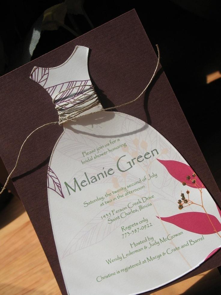 bridal shower invitations registry etiquette%0A Dress    Wedding Shower Invitation         via Etsy