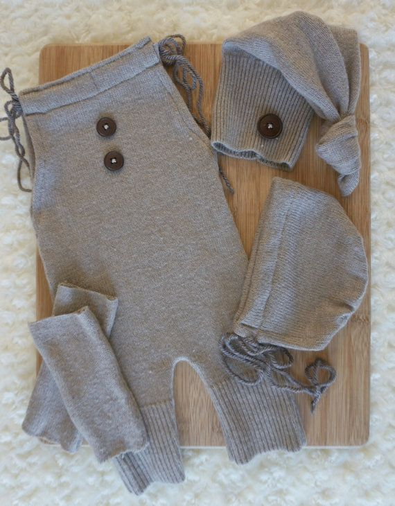 Newborn earthy beige upcycled romper top knot by JazzCraftBoutique