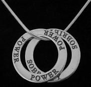 Sterling silver Word jewelry is a powerful genre of jewelry. With this word necklace is says Sobriety is power for a better tomorrow or I have the power for sobriety.
