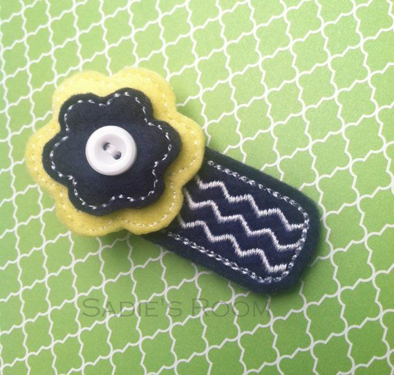 Sadies Room: Stacked Felt Flower in blue and yellow attached to an ...