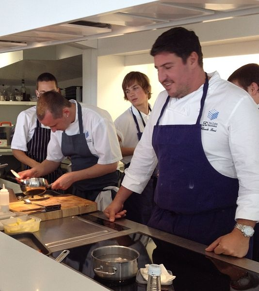 Chef Claude Bosi working at The Cube in London.