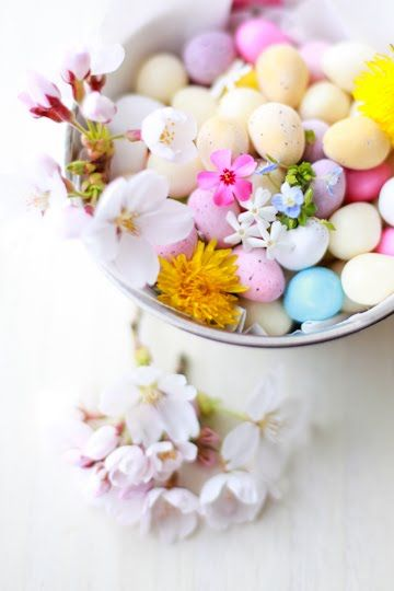 Easter Egg Candy with cherry blossoms.