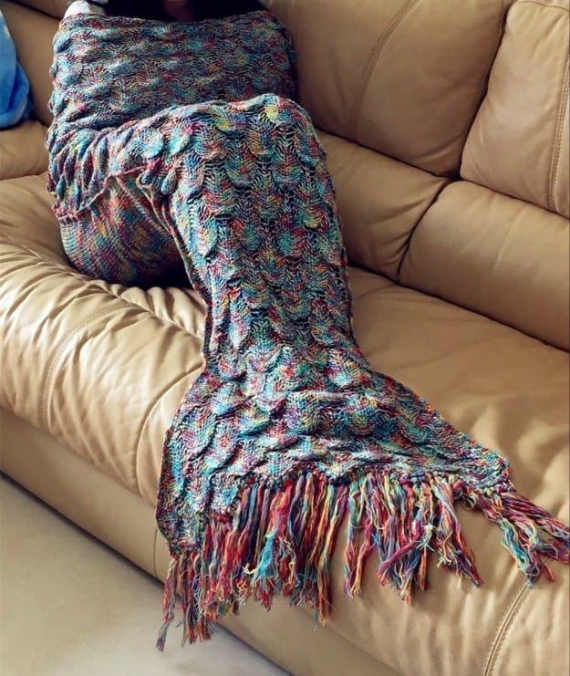 Rainbow Mermaid Crochet Blanket