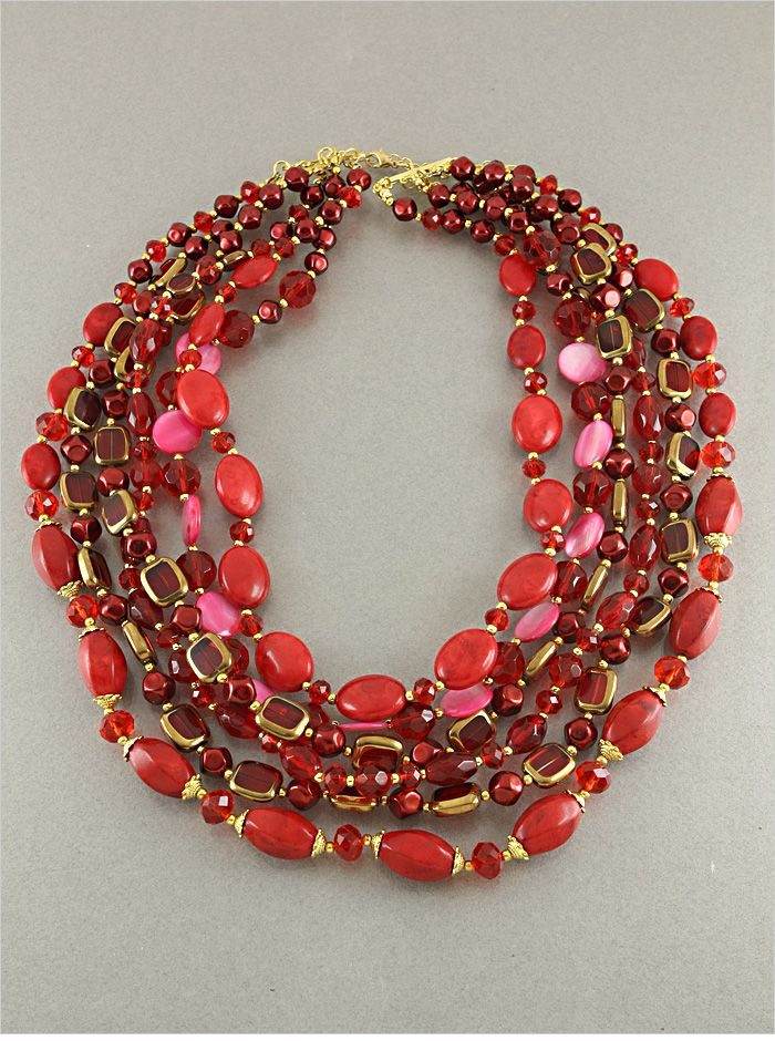Red Coral Statement Necklace on Emma Stine Limited