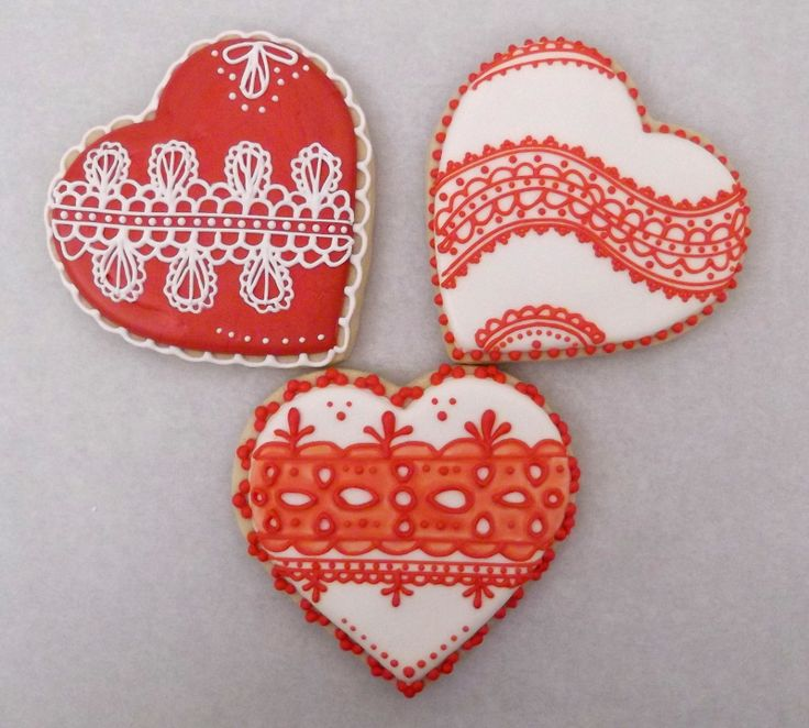 lace valentine heart cookies pink red and white royal icing decoration on sugar - Decorated Valentine Cookies