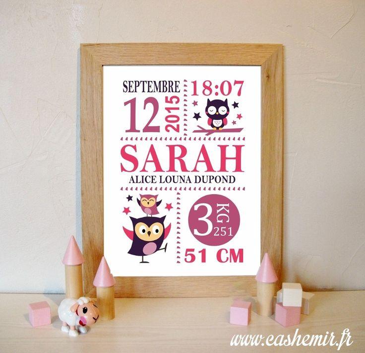 Cadeau naissance, stats de naissance, décoration chambre bébé fille - Fichier Imprimable - n°49 chouette hibou