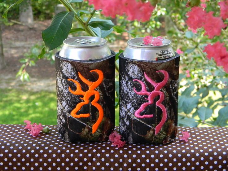 One custom mossy oak can koozie with Browning deer head.  You choose thread color.. $10.00, via Etsy.