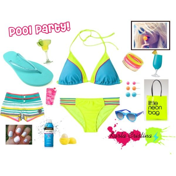 Neon Pool Party Outfit, created by karla-cristina on Polyvore