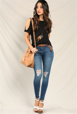 Distressed High-Waist Raw-Hem Skinny Jeans