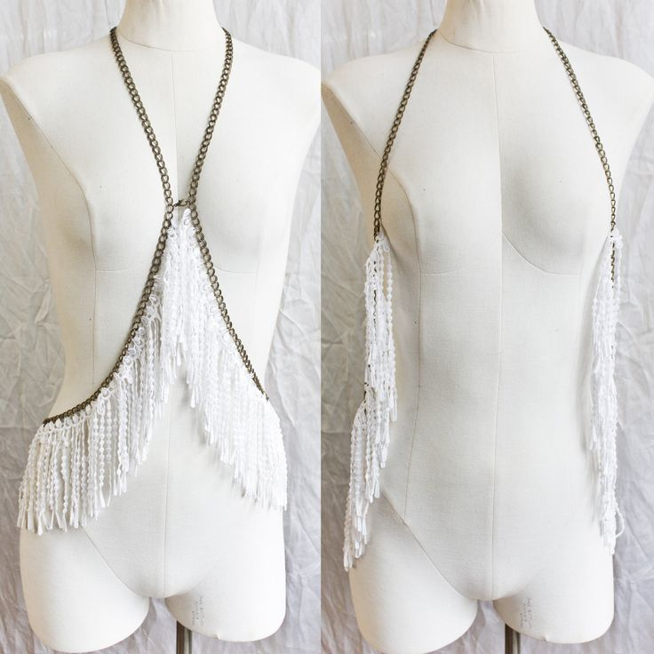 Haute Couture Gypset Fringe - lace and chain body harness jewellery. $212.00, via Etsy.