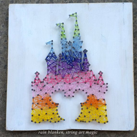 Rainbow Castle String Art Inspired by Disney and by StringArtMagic