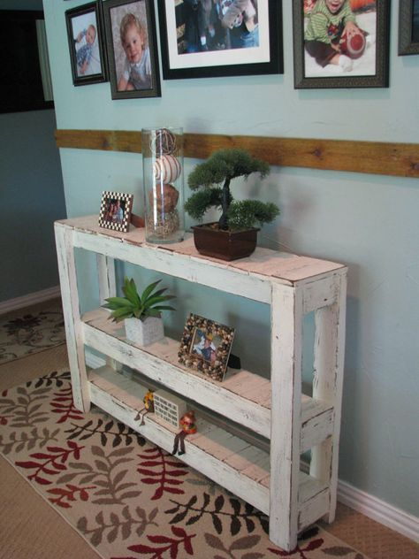 large three tiered rustic console table by dougandcristydesigns