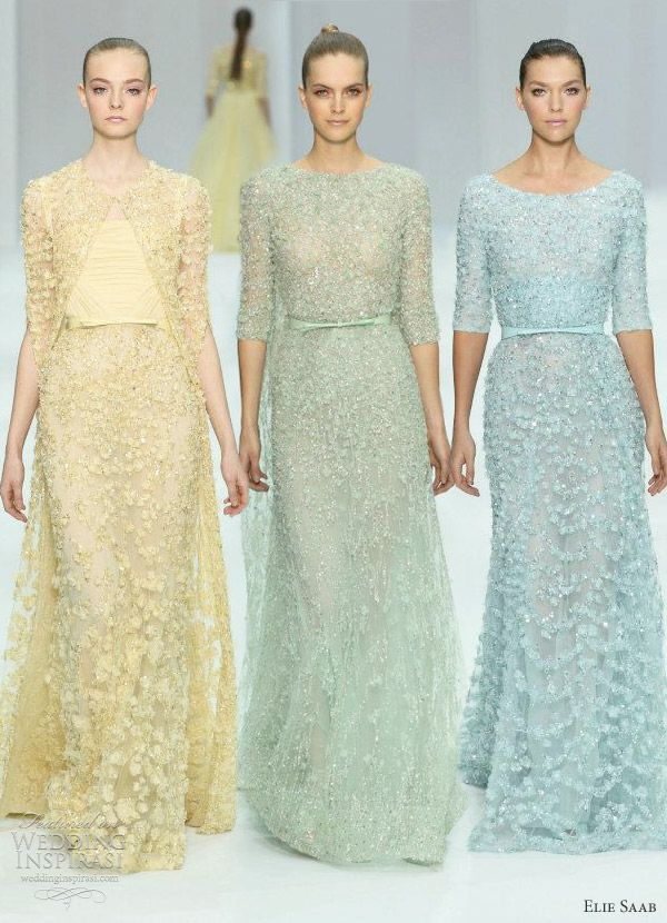 elie saab spring 2012 couture - pastel wedding color and shapes inspiration...lots of dresses with sleeves inspiration as well.  So many, all so different and beautiful!!!!!!!!! LOOK!