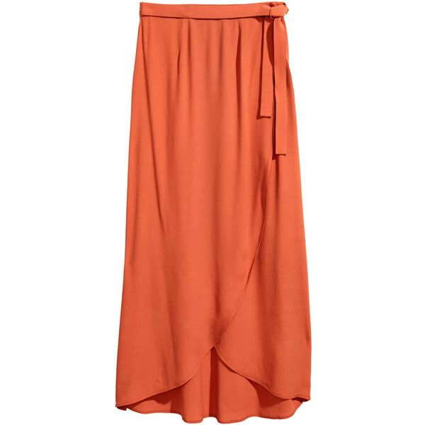 Long Wrap-front Skirt $34.99 (108.085 COP) ❤ liked on Polyvore featuring skirts, long skirts, long orange skirt, wrap front skirt, orange maxi skirt and long floor length skirts