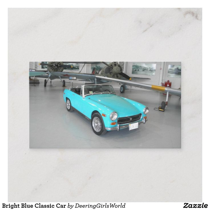 Bright Blue Classic Car Referral Card   Zazzle.com
