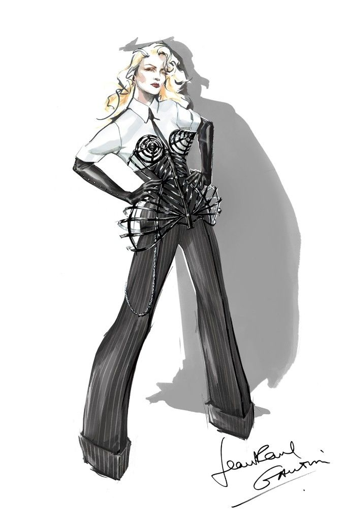 It's all about masculine and feminine, Madonna and Jean Paul Gaultier classics reinterpreted for 2012.    Read more: http://www.madonnarama.com/posts-en/2012/05/31/first-look-at-madonnas-costumes-for-the-mdna-tour-sketches-pictures-interviews/#ixzz1wQqk1dn5