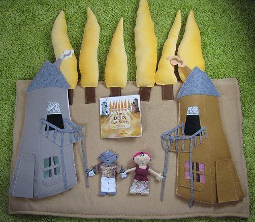 """Raconte-tapis d'après """"Les deux maisons"""", de Didier Kowarsky, illistré par Samuel Ribeyron, Didier jeunesse, 2004, coll. A petits petons"""