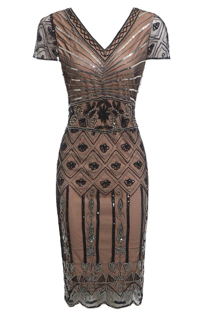Sandra Mocha Beaded Flapper, 20s Great Gatsby Inspired , Art Deco Party Dress, Wedding Reception Dress, Roaring 20s, Evening Dress S-XXL