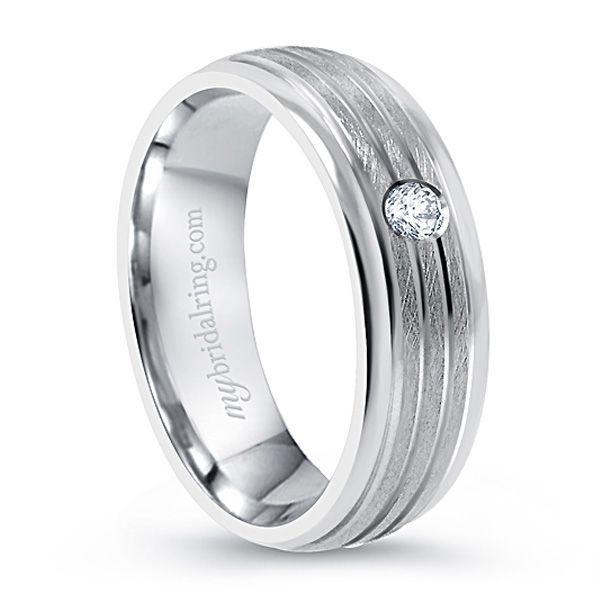 Amazing Look Mens Wedding Ring With Brush Finish And Bezel Diamond