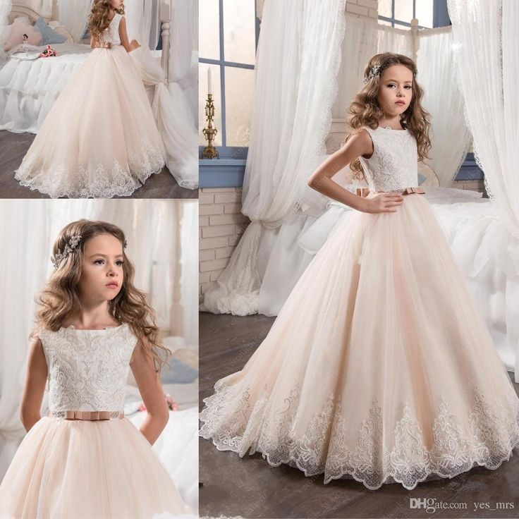Perfect  New Flower Girls Dresses For Weddings Lace Appliques Sequins Blush Pink Sashes Tulle Birthday Dress Children Party Kids Girl Ball Gowns