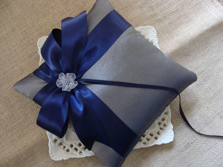 Wedding Ring Bearer Pillow - Navy Blue Satin Side Bow on Charcoal Gray Tafetta. $28.00, via Etsy.