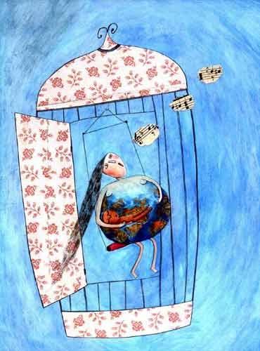 She was free, which changed her world and her song - Montse GisbertMonte Gisbert, Media Art, Illustration, Montse Gisbert