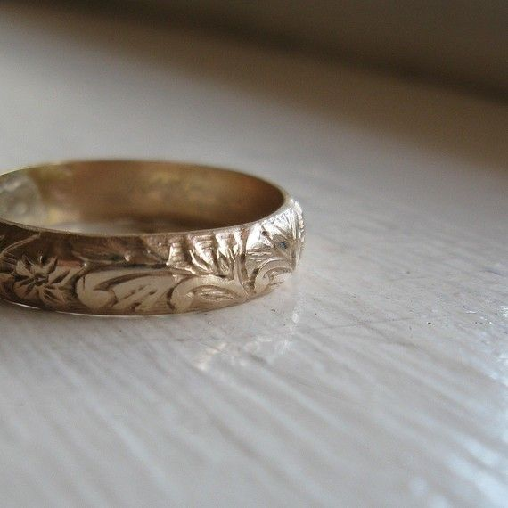 Rustic 14k Gold fill Renaissance Wedding Ring by tinahdee on Etsy, $45.00