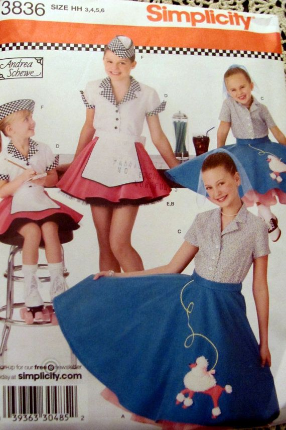 Simplicity 3836 Girls Poodle Skirt And Car Hop Halloween Costume Sewing Pattern Sizes