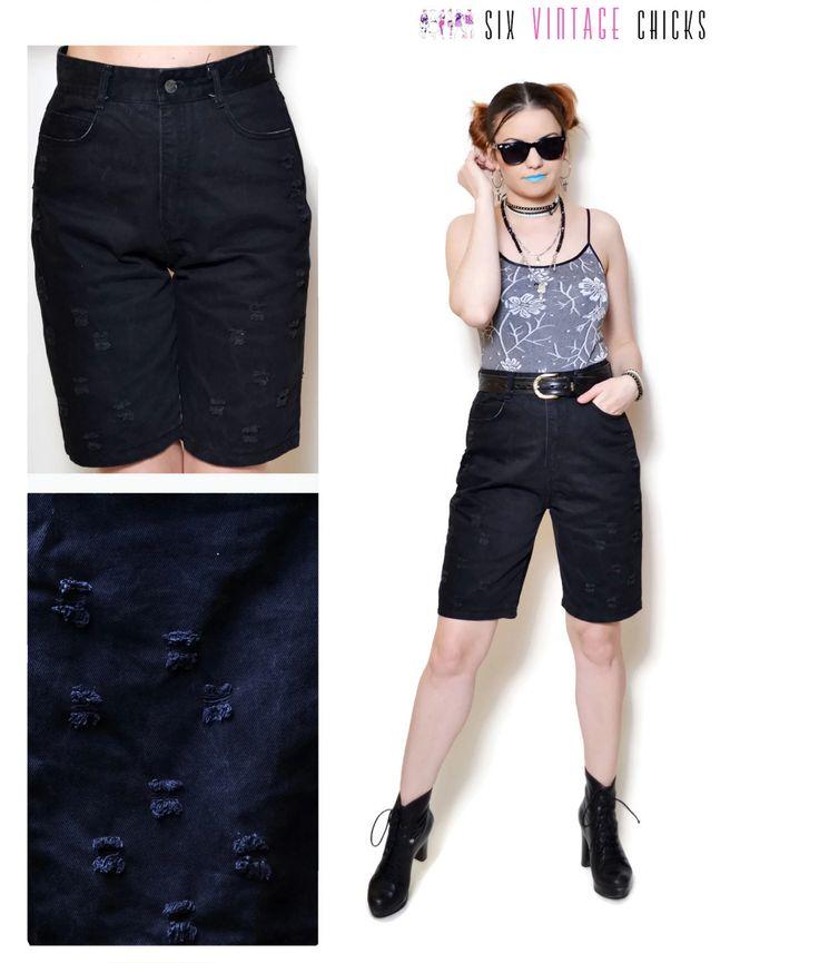 high waisted shorts women jean shorts boho denim shorts rocker ripped 80s Clothing bohemian festival black shorts sexy gifts distressed S by SixVintageChicks on Etsy