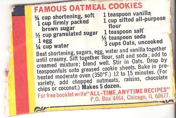 Calories in quaker oatmeal cookies recipe