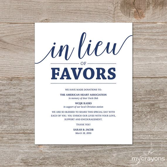 Ideas In Lieu Of Wedding Gifts : In Lieu of Favors Sign by MyCrayonsDesign // An downloadable template ...