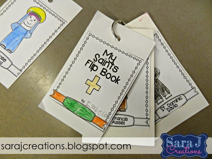 Learning about the Catholic Saints by creating a flipbook with the saint's pictures and an information fact card.  An interactive way to teach young children about some of the popular Catholic Saints.