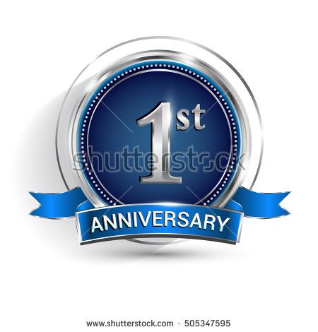 Celebrating 1st anniversary logo, with silver ring and ribbon isolated on white background.